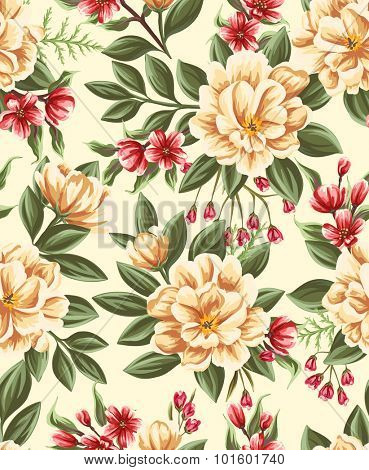 Seamless pattern with beautiful flowers in watercolor style.