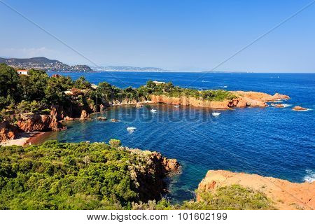 Esterel Rocks Beach Coast And Sea. Cote Azur, Provence, France.