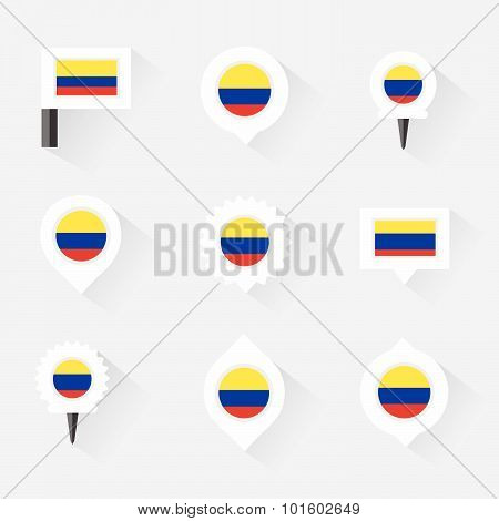 Colombia Flag And Pins For Infographic, And Map Design