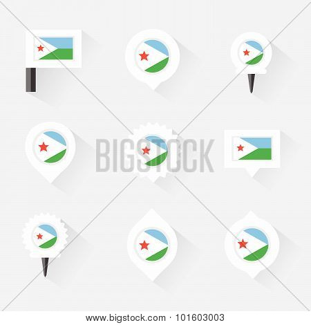 Djibouti Flag And Pins For Infographic, And Map Design