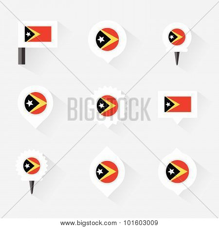 East Timor Flag And Pins For Infographic, And Map Design
