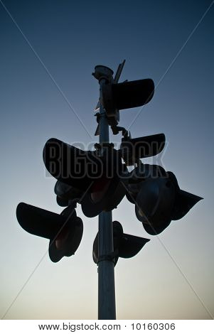 A Slihouette Of Railroad Signal Lights