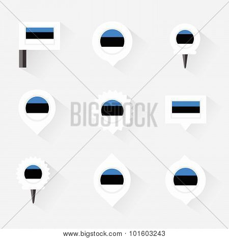 Estonia Flag And Pins For Infographic, And Map Design