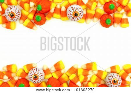 Halloween candy double border over white