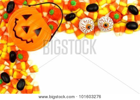 Halloween Jack o Lantern candy holder with candy corner border