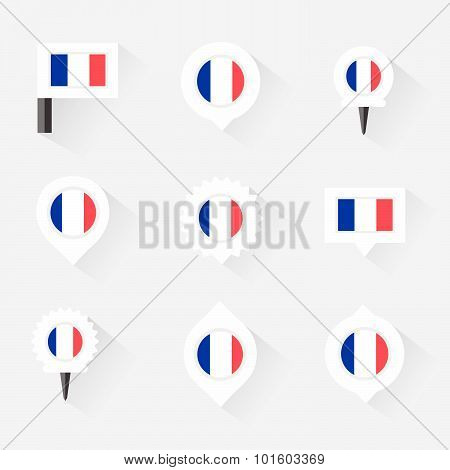 France Flag And Pins For Infographic, And Map Design
