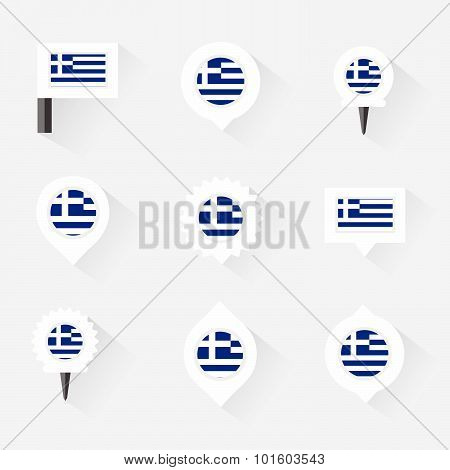 Greece Flag And Pins For Infographic, And Map Design