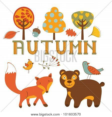 Cute autumn set with woodland creatures birds and trees