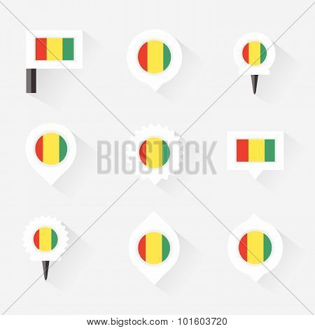 Guinea Flag And Pins For Infographic, And Map Design