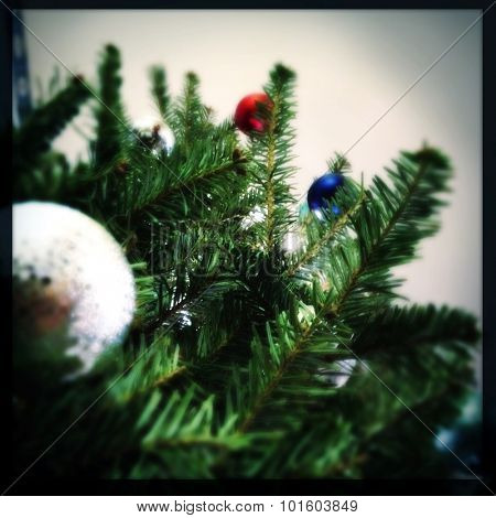 Upward view of a Christmas tree - Instagram filtered
