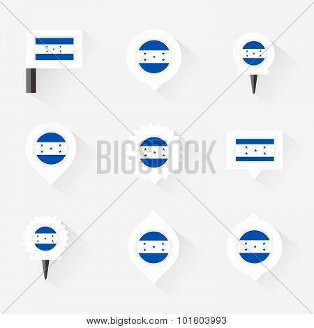 Honduras Flag And Pins For Infographic, And Map Design