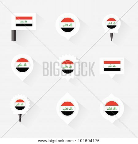 Iraq Flag And Pins For Infographic, And Map Design