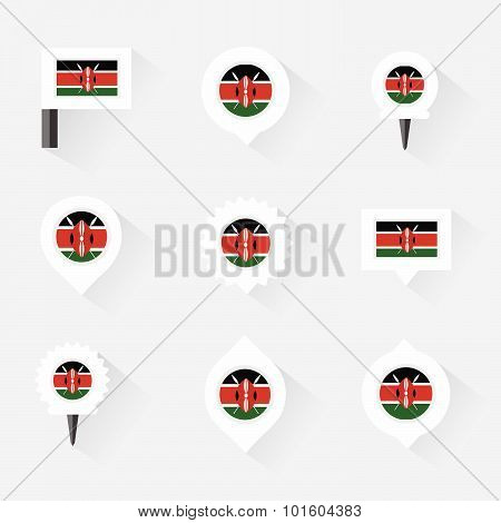 Kenya Flag And Pins For Infographic, And Map Design