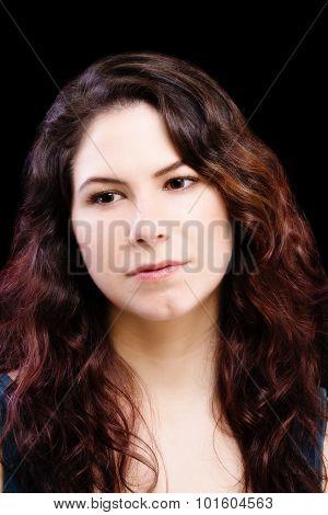 Portrait Attractive Brunette Caucasian Woman Black Background