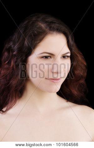 Bare Shoulder Portrait Attractive Brunette Caucasian Woman