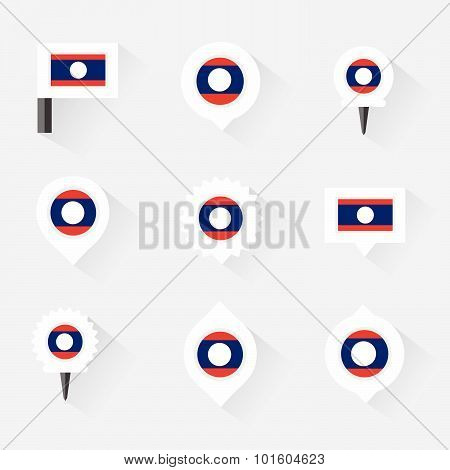 Laos Flag And Pins For Infographic, And Map Design
