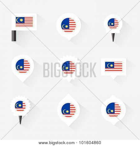 Malaysia Flag And Pins For Infographic, And Map Design