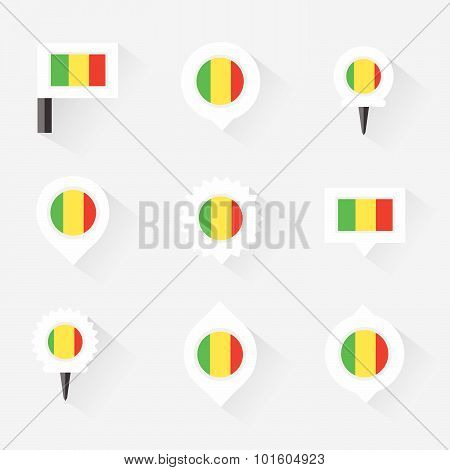 Mali Flag And Pins For Infographic, And Map Design