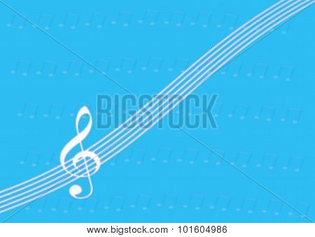 Treble Clef On Staff Or Stave On Blue Background