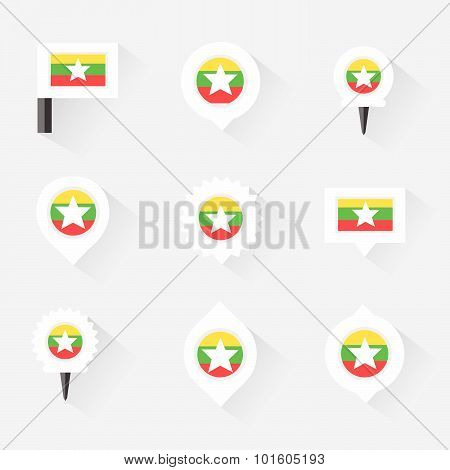 Myanmar Flag And Pins For Infographic, And Map Design
