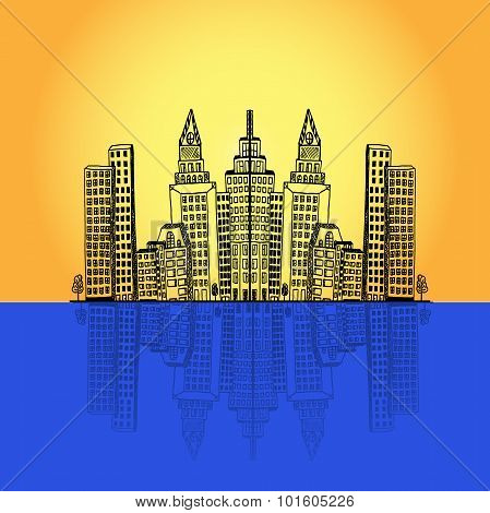 commercial, office, high-rise, building, city, skyline,vector illustration in flat design