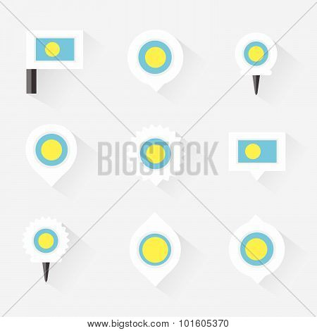 Palau Flag And Pins For Infographic, And Map Design