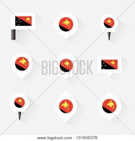 Papua New Guinea Flag And Pins For Infographic, And Map Design
