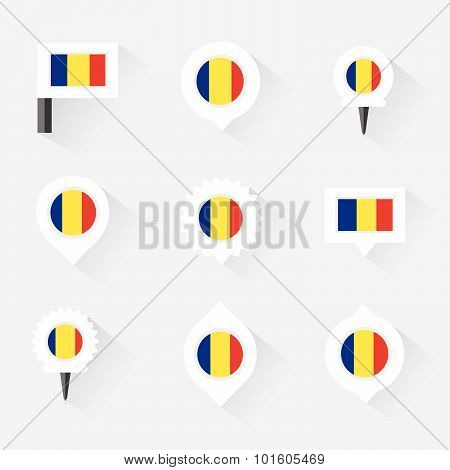 Romania Flag And Pins For Infographic, And Map Design