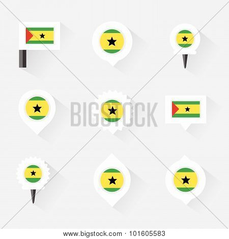 Sao Tome And Principe Flag And Pins For Infographic, And Map Design