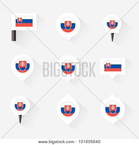 Slovakia Flag And Pins For Infographic, And Map Design