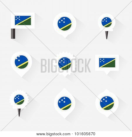 Solomon Islands Flag And Pins For Infographic, And Map Design