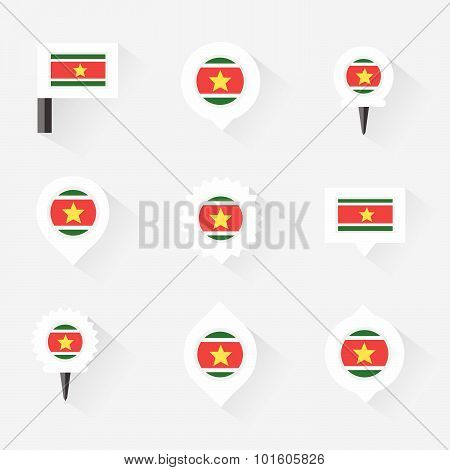 Suriname  Flag And Pins For Infographic, And Map Design