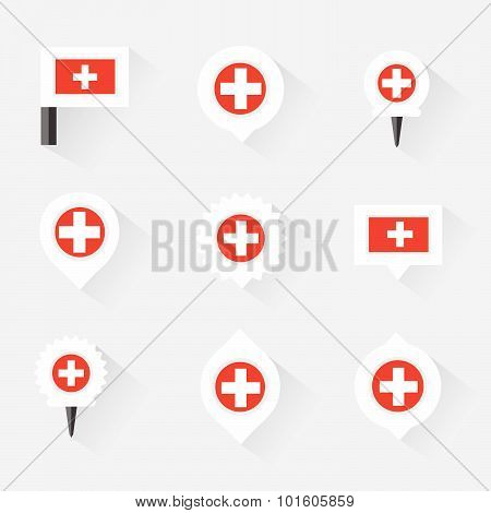 Switzerland  Flag And Pins For Infographic, And Map Design
