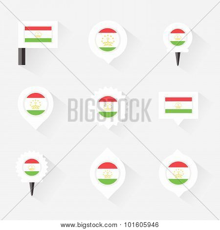 Tajikistan  Flag And Pins For Infographic, And Map Design