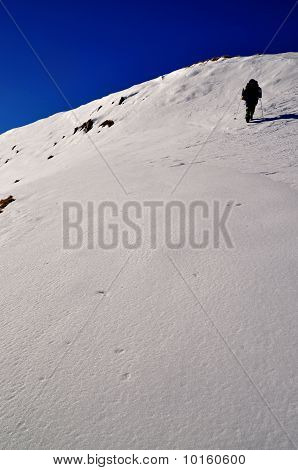 The tourist on a snow hillside.