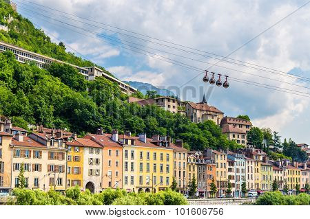 Cable-car Leading To The Stronghold Bastille In Grenoble