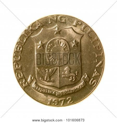 Coin. Fifty Centimes Republic Of The Philippines Isolated On White Background. Top View.