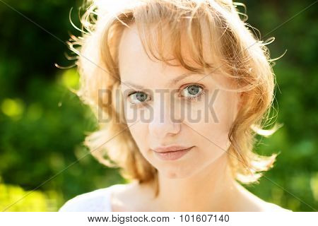 Portrait Of Girl In Sunny Day