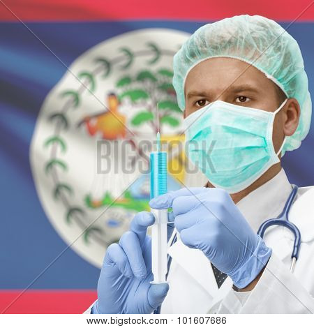 Doctor With Syringe In Hands And Flag On Background Series - Belize