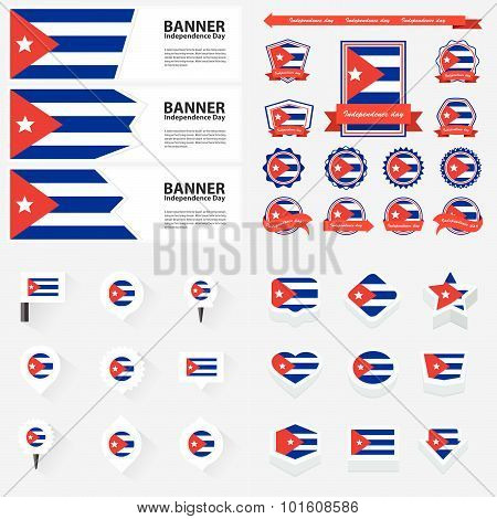 Cuba  Independence Day, Infographic, And Label Set.