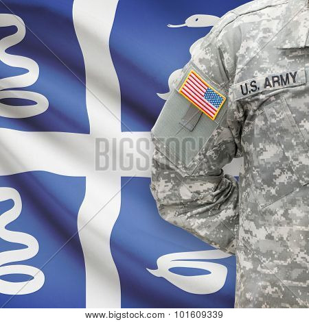 American Soldier With Flag On Background - Martinique