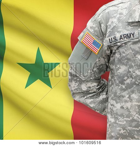 American Soldier With Flag On Background - Senegal