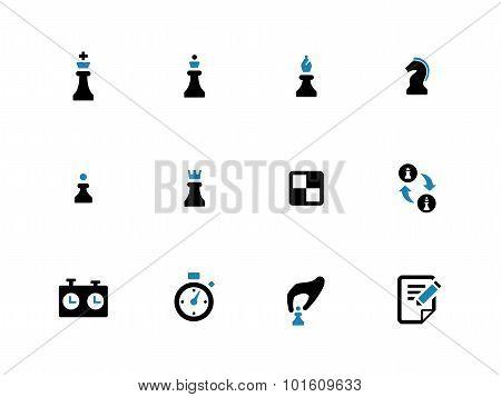 Chess duotone icons on white background.