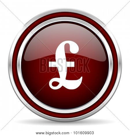 pound red glossy web icon