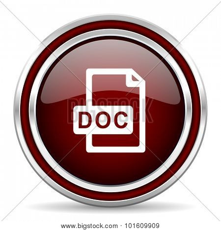 doc file red glossy web icon