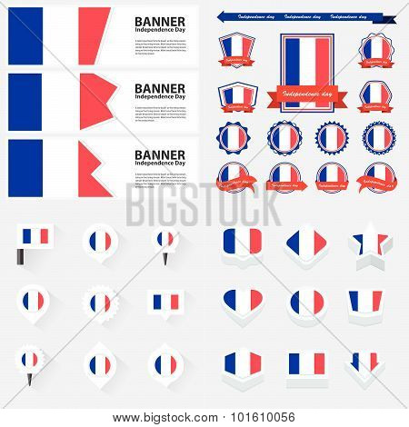 France Independence Day, Infographic, And Label Set.