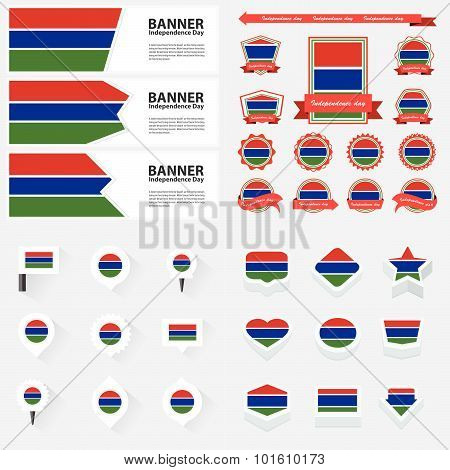 Gambia Independence Day, Infographic, And Label Set.