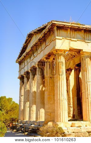 Detail View Of Temple Of Hephaestus In Ancient Agora, Athens