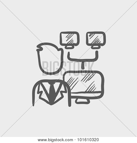 Network administrator sketch icon for web, mobile and infographics. Hand drawn vector dark grey icon isolated on light grey background.