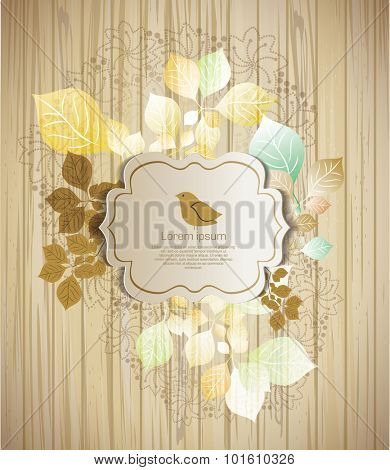 Vintage vector background with bird